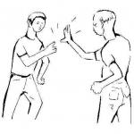 Einer deiner Freunde prügelt sich wild mit einer anderen Person.Was tust du?