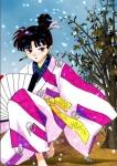 Welche Farbe hatte ihr Kimono, als sie zum ersten Mal erschien?