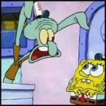 Spongebob arbeitet in der Kuschel Krabbe.