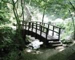 Du betrachtest deine Umgebung. Vor dir liegt ein Fluss, über den eine Brücke führt. Dahinter schlängelt sich eine steile Treppe einen Hügel hinau
