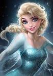 Auf welcher Schulter liegt, von ihr aus gesehen, Elsas geflochtener Zopf?