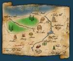 Das ist jedenfalls erstmal eine Karte von Camp Half-Blood. Camp Half-Blood ist das Camp für griechische Halbgötter. Wir haben hier zwei kleine Bäch