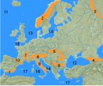 Welches Ziffer markiert in der Karte den Balkan?