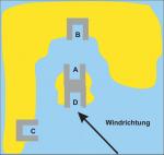 Frage 14: Sie wollen einen Schutzhafen anlaufen. Sie haben die in der Abbildung gezeigten Häfen zur Auswahl. Welchen Hafen wählen Sie?
