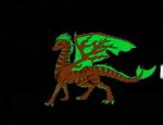 2. Der Grasschweif Tarnfarbener Drache mit einem begrasten Rücken. die Flügel sind grün und abgesehen von den Knochen sind dort Zweig Muster Zeichn