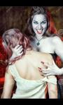 Die Vampirin pack das opfer mit ihren Krallen