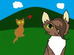 Fangen wir an:3 Im Vordergrund ist Blättertanz zu sehen und im Hintergrund Donnerkralle, der sich über beide Ohren in sie verknallt hat. Das habe ic
