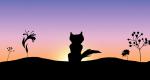 Samtschweif... Oder ihre Silhouette vor einem Sonnenuntergang...