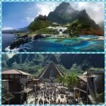 ((unli))Der Park ((eunli)) Eine große Insel mit Bachläufen, Wald und einer Bergkette im Norden. Die Einrichtungen für Besucher befinden sich südli