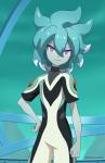 Vorname: Miu Nachname: wusste es nicht aber hieß früher Yoshida Alter: 13 Aussehen: sie hat brustlanges, grünes Haar und rosane Augen, sie hat sehr