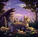 Fakt 15: Löwenglut und Russherz bekommen 3 Junge; Distelschopf(nach Distelblatt), Rauchlied(nach Rauchfell) und Ampferstreif(nach Ampferschweif). Die