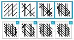 Welche der Darstellungen in der unteren Reihe sollte sich logischerweise an der Stelle des Fragezeichens in der oberen Reihe befinden?