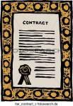 Dann geht es jetzt zum letzten Teil. Die Unterschrift. *holt den Vertrag heraus* Bitte sehr. *legt ihn vor dich* Der Vertrag enthält was alle Verträ