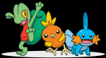 Die drei Starter Geckabor, Flemmli und Hydropi wollten einen Trainer! Auf einmal kam ein junges Mädchen mit roten Klamotten und sah diese Pokemon an.