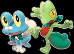 """Geckabor war wütend und stellt seinen Freund Froxy vor: """"Das ist Froxy! Wir sind Ninjas und retten oft die Welt vor Pokemonjäger!"""" Hydropi"""