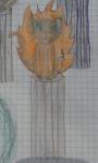 Feuerstern, auf einem Baumstumpf, umringt von einer orangenen Wolke aus Feuer.