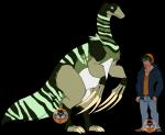 Art: Gratassaurus Aussehen: Bild (etwas größer als ein Raptor, tritt in Gruppen auf) Charakter: aggressiv, gemein, böse, blutrünstig, geduldig, st