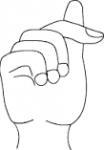 ((big))T((ebig)) Das T wird ähnlich wie das G gebärdet. Nur, dass der Daumen auf den Zeigefinger gelegt wird.