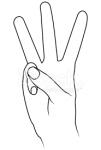 ((big))W((ebig)) Das W ist für den einen leichter, für den anderen schwieriger. Zeigt einfach das V und nehmt den Ringfinger dazu, schon habt ihr ei