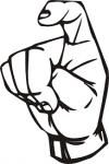 ((big))X((ebig)) Das X…wie soll ich das erklären? Ihr macht das D, schließt jedoch das Loch und macht den Zeigefinger ((cur))etwas((ecur)) krumm.