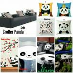 ((bold))((olive))Großer Panda((ebold))((eolive)) Auf die hellgelb gestrichene Wand ist das Bild zweier Pandabären gemalt, die unter einem Baum mit r