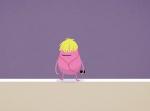 Warum fällt die rosa Bohne mit den gelben Haaren auf die Zuggleisen?