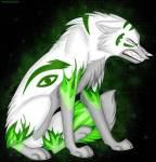 Name: Demon Alter: 49 Monde Geschlecht: männlich Aussehen: normal: weißes Fell, graues Fell an Bauch, Brust, Beine und Schnauze, grüne Zeichen im F
