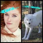 Auf dem nächsten Bild ist Cora. Sie ist auch ein Halbmensch. Zur anderen Hälfte ist sie Wölfin. Sie ist seit kurzem Mutter von zwei Söhnen, diese