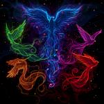 ((gray)) ((bold)) Hatte noch eine Idee... ((ebold)) ((egray)) ((unli)) Fünf Leute können sich in einen Phönix verwandeln. Blau, grün, orange, rot