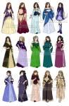 ((green)) Hier sind die Ballkleider. Jedes Mädchen hat ((bold)) eins! ((teal)) Luna: Zweite Reihe, zweites von links (das dunkel lilane) ((eteal)) ((
