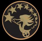 ((unli))Unterprima((eunli)) Dieses Wappen zeigt Nyx' goldenen Triumphwagen, der leuchtend silberne Sterne hinter sich herzieht. Der Triumphwagen