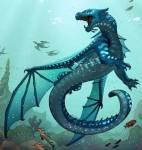 ((bold))Meeresflügler((ebold)) Meeresflügler sind starke Drachen mit Schuppen deren Farben von dunkelblau über alle möglichen Blautöne bis hin zu