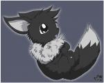 Name: Shiki Art: Evoli Hybrid: nein Typ: noch normal Geschlecht: männlich Aussehen: er ist ein pechschwarzes Evoli mit flauschigen Fell und weißem F