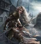 Kriegerin in Rüstung mit langem Schwert und blonden Haaren