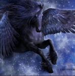 Der Pegasus. Er kann bis zu 2 Meter groß und bis zu 1,5 Meter lang werden. Seine Flügelspannweite beträgt 2 Meter. Er ist ein friedlicher Geselle d