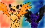 Zwei Kater mit Flügeln (Wer wärt ihr lieber? Hell oder dunkel?)