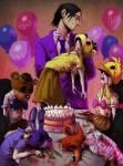 Purple Guy hat unschuldige Kinder nach und nach ermordet, darauf hin sind die Seelen der Kinder in den Animatronics: Chica, Foxy, Freddy, Bonnie gewan