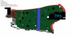 ((bold))Der Westen((ebold)) ((cur))Legende((ecur)) grün: sehr sehr dichter Wald weiße Fläche: Lichtungen 1: Hauptstützpunkt graue Dreiecke: Höhle