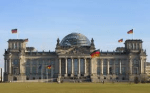 Welcher Schriftzug prägt das Haupttor des deutschen Bundestags?