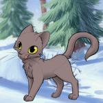 Name: Eschenpfote Aussehen der Katze: Graubrauner Kater mit gelben Augen Hintergrund: Schneebedeckte Bäume Narben oder ähnliches?: Nein Bildstyle 1