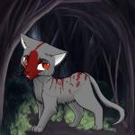 Name: Flammenwald Aussehen der Katze: Rotgrauer Kater, orangene Augen Stimmung: Traurig(Tränen in den Augen, unglücklicher Ausdruck) Hintergrund: Wa