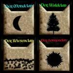 Der Sonnenclan, Mondclan, Waldclan und Wiesenclan