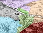 Karte Grau: Windclan Blau: Flussclan Grün: Donnerclan Orange: Schattenclan Rot: Ehemaliger Blutclan, jetzt Teil dees Wolkenclans Violett: Wolkenclan