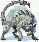((bold))Der Dornenwolf.((ebold)) Sein giftiger Stachel kann bis zu 4 Männer töten. Noch schlimmer: Er speit Feuer. Auch seine Krallen und Zähne sol